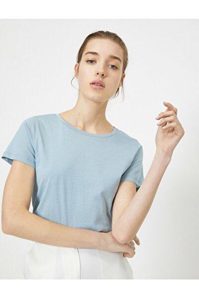 Koton Kadın Mavi Bisiklet Yaka Basic T-Shirt