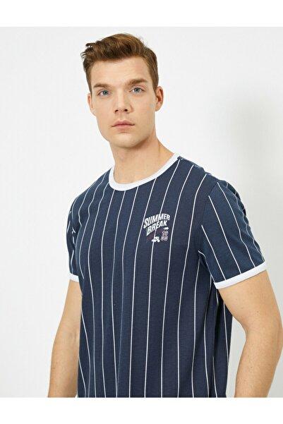 Erkek Lacivert Çizgili T-Shirt