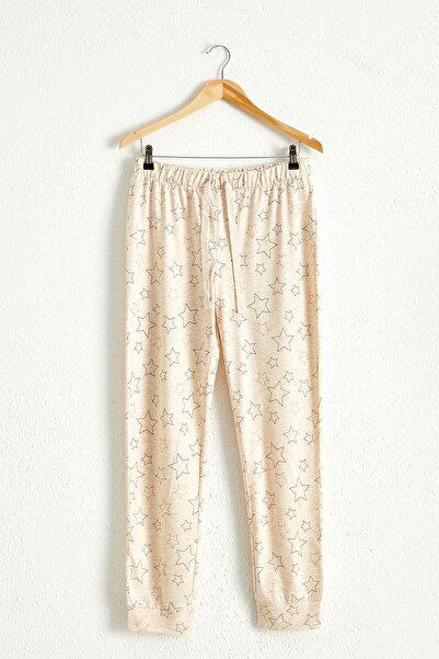 LC Waikiki Kadın Bej Baskılı Pijama Alt 0WH579Z8