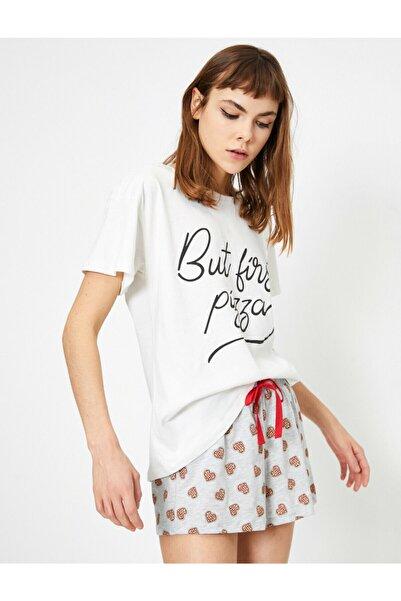 Koton Kadın Ekru Yazili Baskili Pijama Takimi