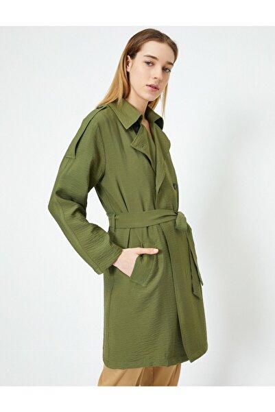 Koton Kadın Yeşil Cepli Beli Kusakli Trençkot