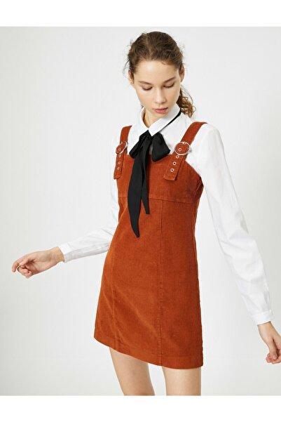 Koton Kadın Kırmızı Kadife Elbise