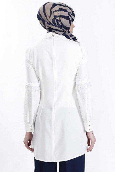 Sitare Kadın Ekru Kolları Tüllü İncili Gömlek 19Y2483 19YGM19Y2483