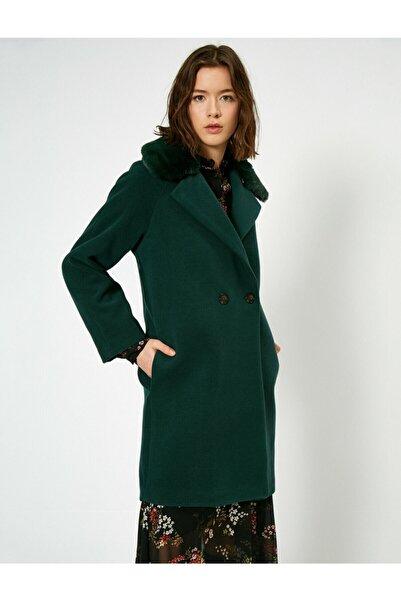 Koton Kadın Yeşil Suni Kürk Detaylı Kaban