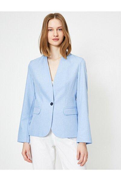 Koton Kadın Mavi Dügme Detayli Ceket 0YAK52907UW
