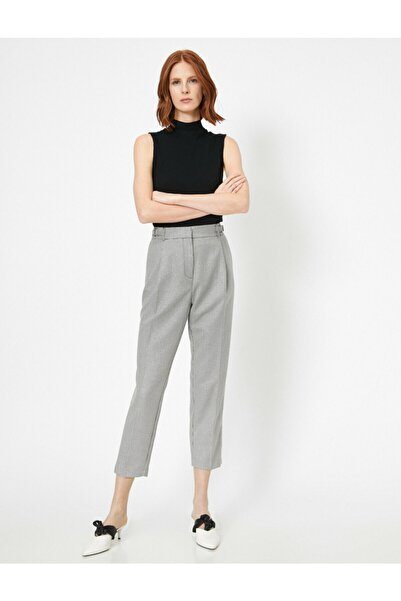 Koton Kadın Ekoseli Havuç Pantolon