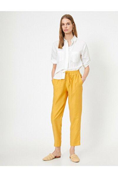 Koton Kadın Sarı Dogal Dokulu Beli Bagcikli Rahat Pantolon