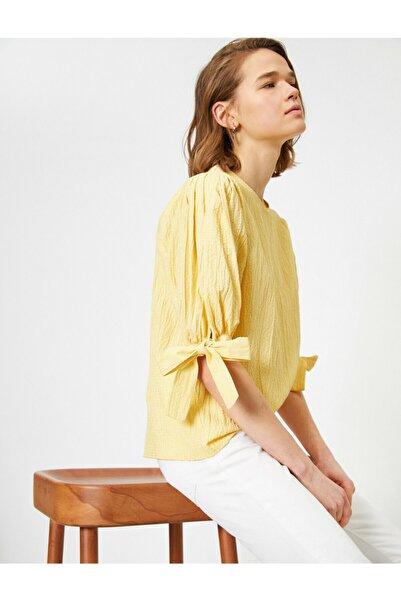 Kadın Sarı Dokulu Kumaş  Kol Detaylı Bluz