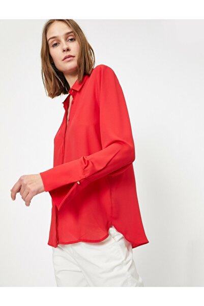 Koton Kadın Kırmızı Klasik Krep Gömlek