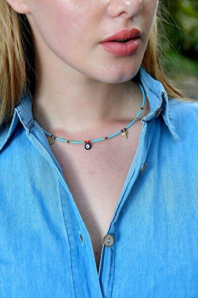 Trend Alaçatı Stili Kadın Mavi Nazar Boncuklu Kolye ALC-A1961