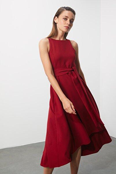 Bordo Kemerli Elbise TPRSS19FZ0068