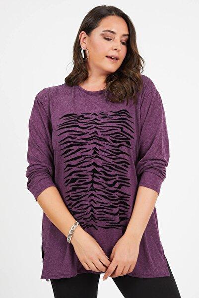 Siyezen Büyük Beden Mor Zebra Desenli Yumoş Bluz