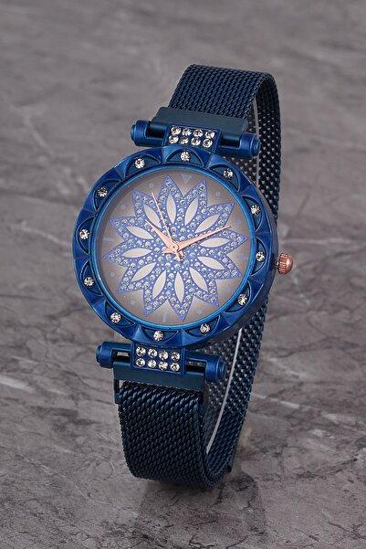 Polo55 Plkhm015r02 Kadın Saat Lacivert Taşlı Çiçekli Şık Kadran Mıknatıslı Hasır Kordon