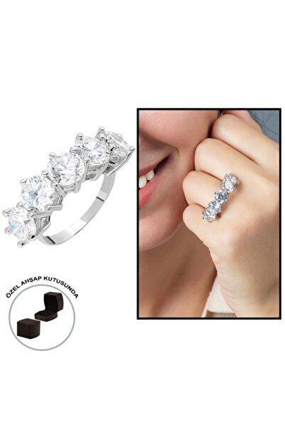 Tesbihgram Starlight Diamond Pırlanta Montür 925 Ayar Gümüş Bayan Baget Yüzük