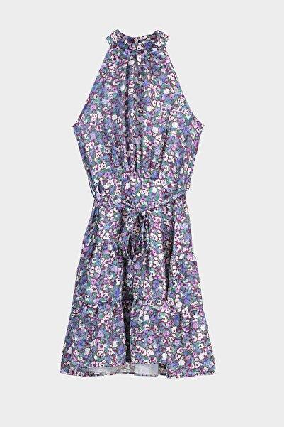 TRENDYOLMİLLA Mor Kuşaklı Çiçek Desenli Elbise TWOSS20EL2490