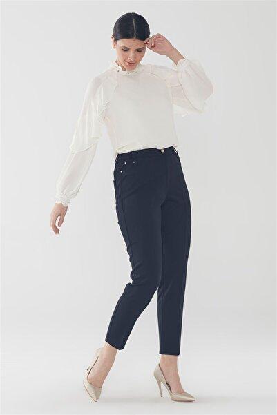 Zühre Kadın Lacivert Cep Detaylı Pantolon P-0106