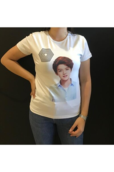 Panda Kadın Beyaz Exo Baskılı T-shirt