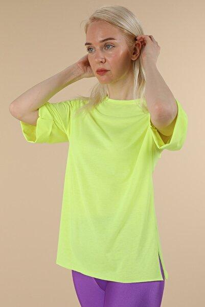 Oblavion Kadın Neon Yeşil Duble Kol T-Shirt