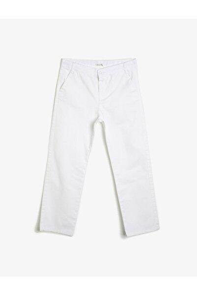 Koton Kids Erkek Çocuk Beyaz Düğme Detaylı Pantolon