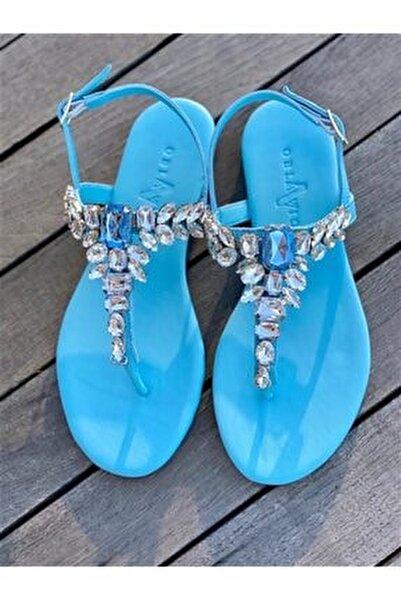 Lavin Hakiki Deri Bebe Mavi Taşlı Sandalet