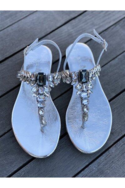 Oblavion Lavin Hakiki Deri Gümüş Taşlı Sandalet