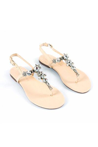 Oblavion Lavin Hakiki Deri Nude Taşlı Sandalet