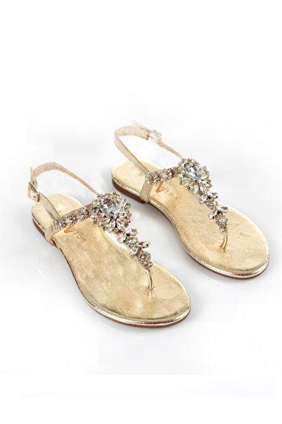 Oblavion Lavin Hakiki Deri Gold Taşlı Sandalet