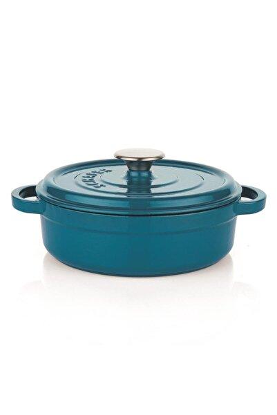 Schafer Guss Chef Döküm Basık Tencere 28 Cm 2 Parça Mavi