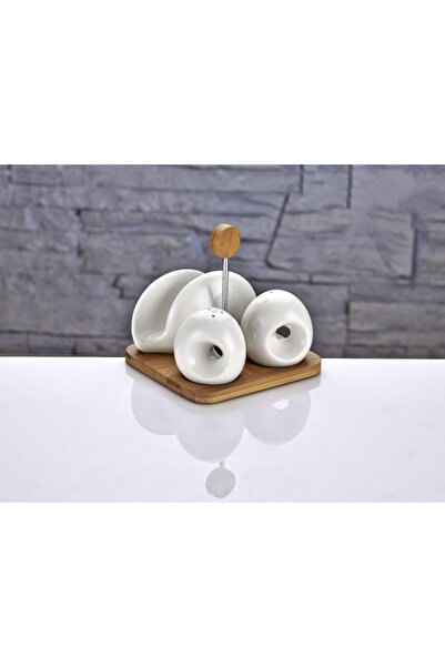 çerçi Bambu Stantlı Porselen Tezgah Üstü Baharatlık