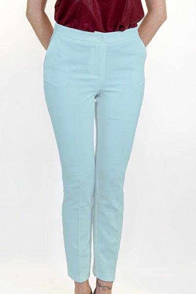Lefon Kadın Mavi Cepli Kumaş Pantolon