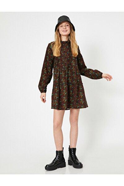 Koton Kadın Bordo Desenli Elbise 0YAL88138IW