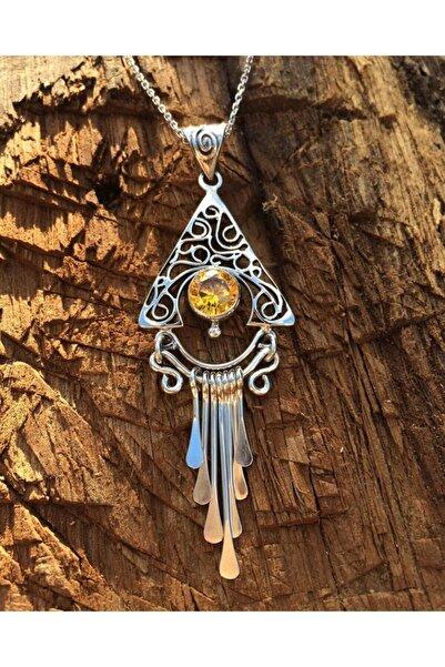 TASARIM GÜMÜŞ Gümüş Zirkon Gold Taşlı El Işi Kolye