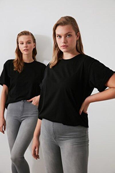 Siyah %100 Pamuk Bisiklet Yaka Boyfriend Örme T-Shirt TWOSS20TS0134