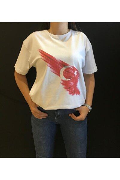 Panda Unisex Beyaz Türk Bayrağı Baskılı T-shirt