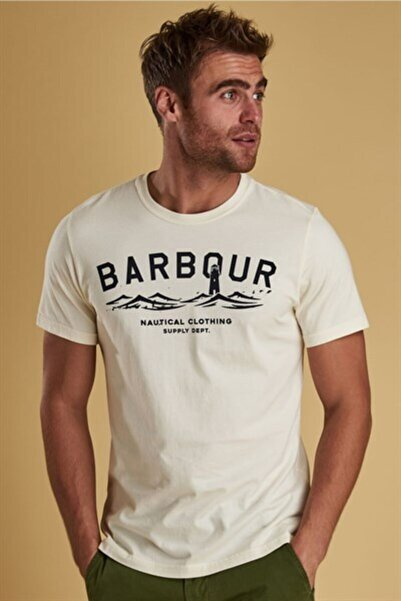 Barbour Erkek Beyaz Kısa Kollu T-Shirt