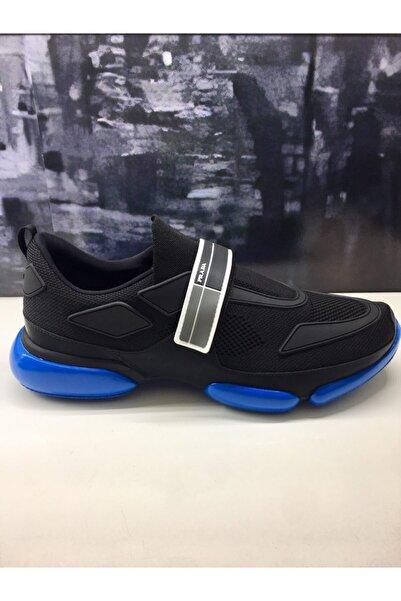Prada Erkek Siyah Mavi Taban Sneaker