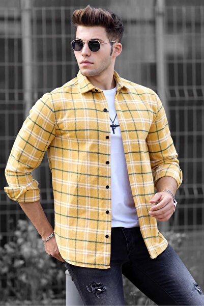 Madmext Sarı Kareli Erkek Gömlek 4901