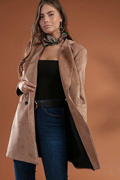 Y-London Kadın Camel  Önü Cepli Kruvaze Fitilli Kadife Ceket  Y19W109-38065