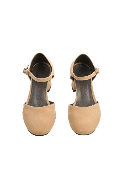 PUNTO Kadın Ten Rengi Kısa Topuk Süet  Ayakkabı