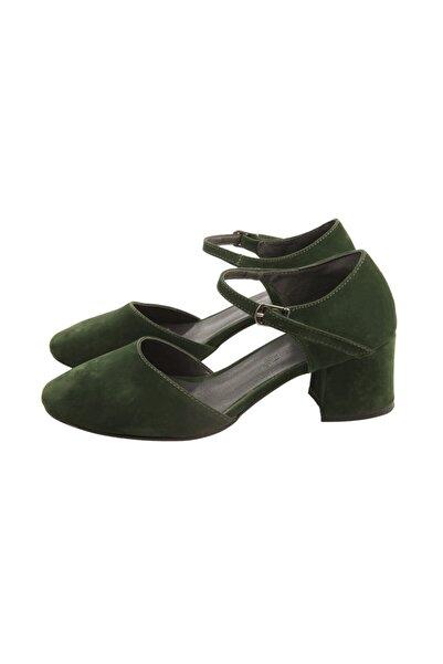 PUNTO Kadın Haki Kısa Topuk Süet Ayakkabı