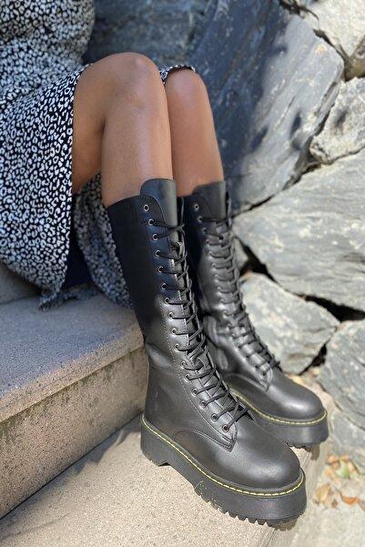 İnan Ayakkabı Siyah Cilt Kadın Bot KY4442