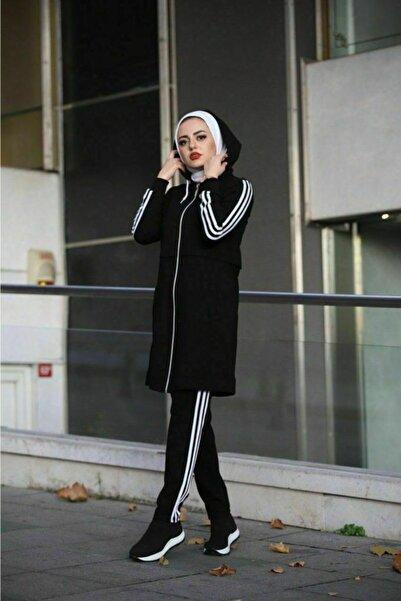 Camelya Fashion Kadın Siyah Tesettür Eşofman Takımı