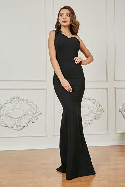 Sateen Kadın Siyah Tek Omuz Balık Abiye Elbise