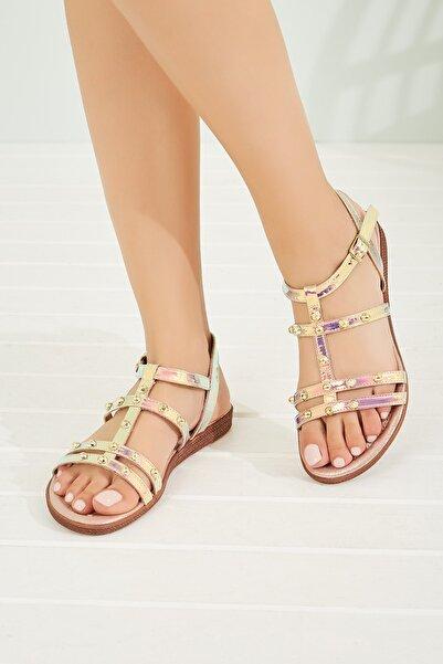Sateen Kadın Rose Taşlı Hologram Sandalet