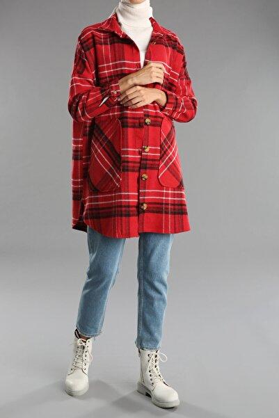 Ekrumoda Kadın Kırmızı Ekose Desenli Gömlek Tunik