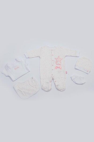 Pierre Cardin Baby Pierre Cardin Yenidoğan Tulumlu Bebek Seti Yıldız Baskılı Pembe