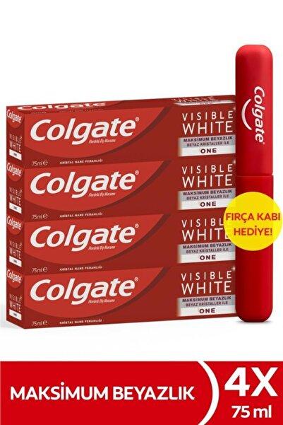Colgate Visible White Maksimum Beyazlık Beyazlatıcı Diş Macunu 75 Ml 4x75 Ml + Diş Fırçası Kabı Hediyeli