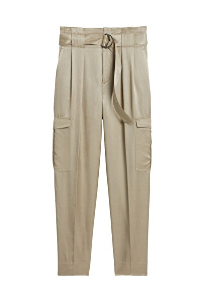 Banana Republic Kadın Gri High-Rise Tapered Saten Kargo Pantolon 583702