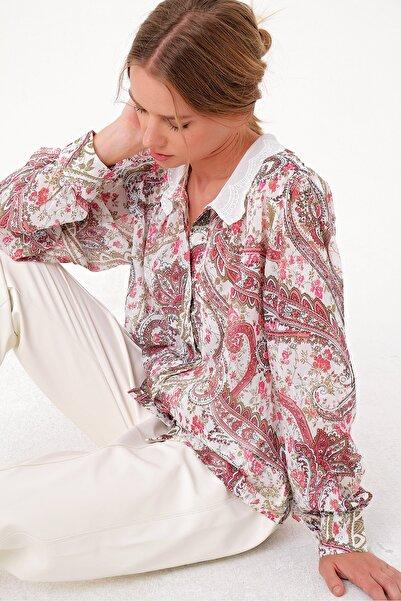 Trend Alaçatı Stili Kadın Mıx Fisto Yakalı Premıum Dokuma Gömlek ALC-X5025