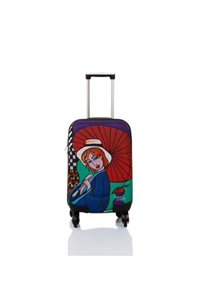 Biggdesign Unisex Kırmızı Şemsiyeli Kız Kabin Boy Kanvas Valiz 18 Inch